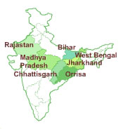 Image: Map of India with the programe location.